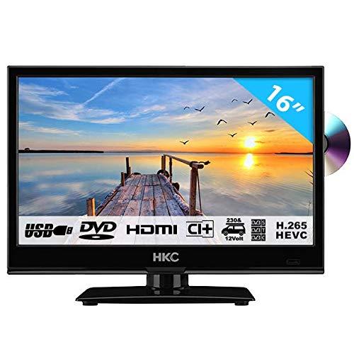 HKC 16M4C: 39,6 cm (16 Zoll) LED-Fernseher mit DVD-Player (HD-Ready, Triple Tuner, CI+, Mediaplayer USB 2.0, 12V Kfz-Ladegerät) [Energieklasse A+]