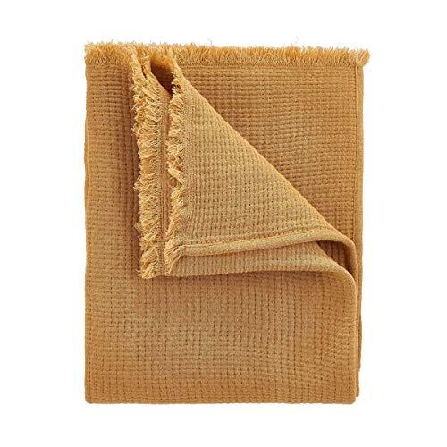 Butlers Cocoon - Decke L 170 x B 130 cm - Tagesdecke in Senfgelb - auch als Schlafdecke oder Sofadecke geeignet