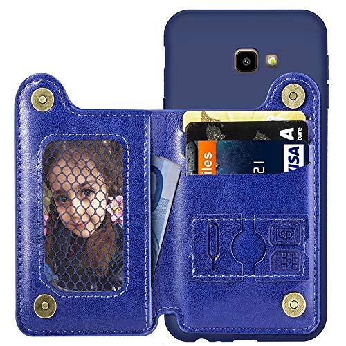 Eyxia For Samsung Galaxy J4 Plus Funda Protectora de Cuero con Tapa Duradera con Ranura for Tarjeta y Marco de Fotos Funda de Cuero de Lujo de la Vendimia Funda con Soporte for Tarjeta