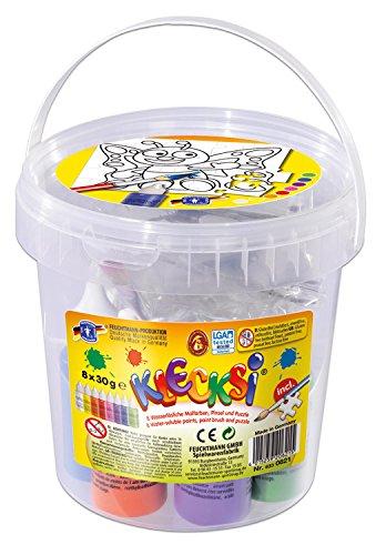Feuchtmann Spielwaren 633 0621 - KLECKSi Puzzle - Set mit 8 Malfarben Pinsel und Puzzle zum Bemalen im verschließbarem Eimer ideal als kleines Geschenk oder für den Kindergeburtstag