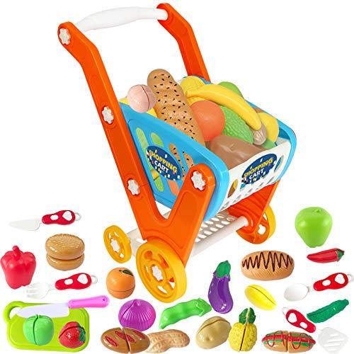 GRESAHOM Carrello Spesa Giocattolo, Carrello Spesa Bambini Oversize Supermercato Giocattolo con Frutta, Verdura e Coltelli da Cucina Giochi educativo di Ruolo per Bambini 3 Anni in su, 33 Pezzi