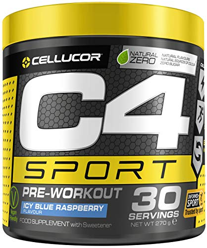 C4 Sport Pre Workout Powder ICY Blue Raspberry | Informed-Sport Certified + Preworkout Energy Drink Supplement for Men & Women | 135mg Caffeine + Beta Alanine + Creatine | 30 Servings