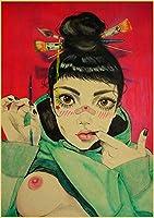 大人のための5Dダイヤモンド絵画キット、exy Girlレトロポスター、刺繡アートクラフトクロスステッチキットラインストーン壁の装飾部屋の装飾(正方形、40x50cm)