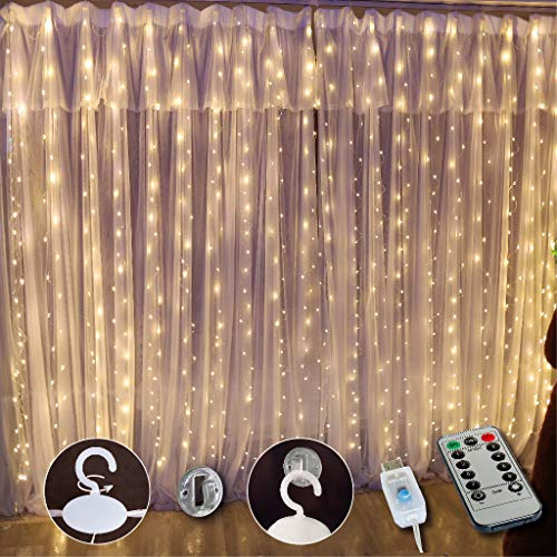 SINAMER White Curtain Light for Bedroom, 300 LED 9.8ft x 9.8ft Curtain String Light with 16 Hooks, 8 Models Remote Control, Window Fairy Light with USB for Wedding Party Home Garden Indoor Decorations