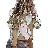 Top de mujer de manga larga, botones de metal, cuello redondo, suéter sin capucha, estampado de letras y blusa de mujer elegante, Con cremallera., XL