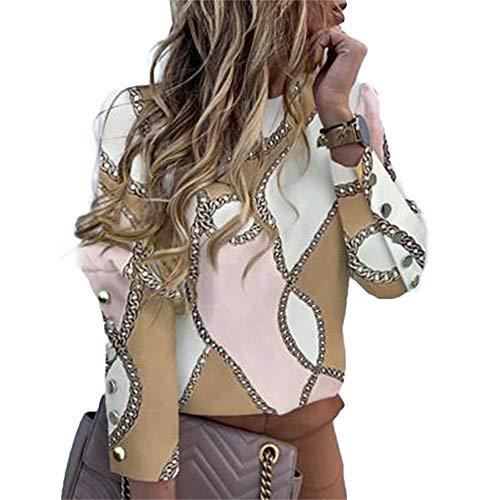 Top de mujer de manga larga, botones de metal, cuello redondo, suéter sin capucha, estampado de letras y blusa de mujer elegante, Con cremallera., S