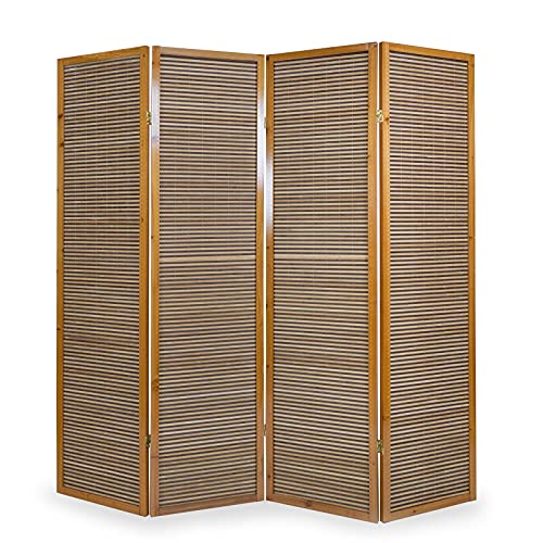 Homestyle4u 382, Paravent Raumteiler 4 teilig, Bambus Holz, Braun