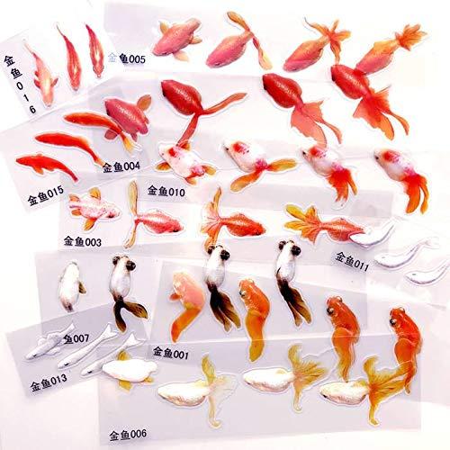 PMSMT 40 Blatt Goldfisch 3D Goldfisch Clear Film Aufkleber für Resin Art3D Resin Koi Teich MalereiResin Inclusion Mix Designs