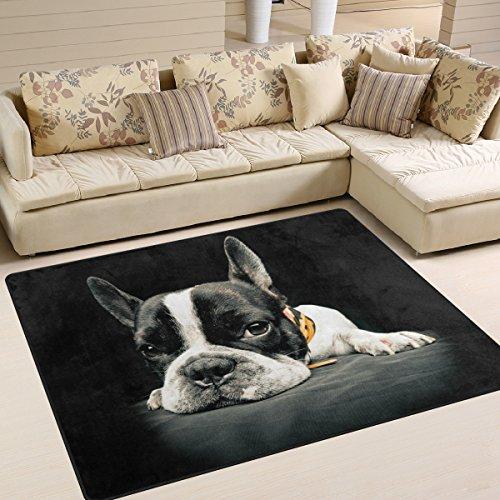 Naanle Lindo Bulldog Francés Antideslizante Área Alfombra para Sala Comedor Dormitorio Cocina, 150 x 200 cm
