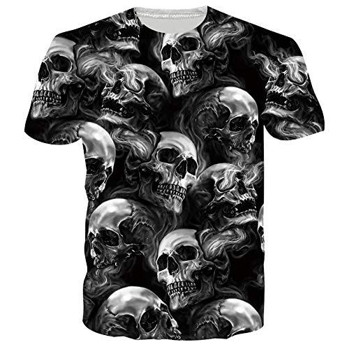 SunFocus Camisetas Hombre Originales Verano Casual Estampado 3D Calavera Camiseta Manga Corta Cuello Redondo Personalizado gráficas Tops L