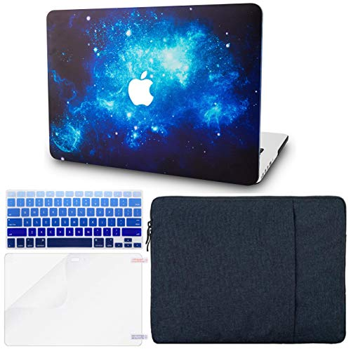 KECC MacBook Pro Retina 13 Inch Case (2015) w/UK Keyboard Cover Plastic Hard Shell + Sleeve + Screen Protector A1502 / A1425 (Blue 2)