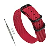 19mm Red Military Zulu Straps 3-Ring Thick Nylon Watch Strap Replacement
