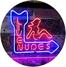 Live Nude Girls Bar Beer Pub Club Décor Dual Color LED Neon Sign Blue & Red 400 x 300mm st6s43-i2042-br