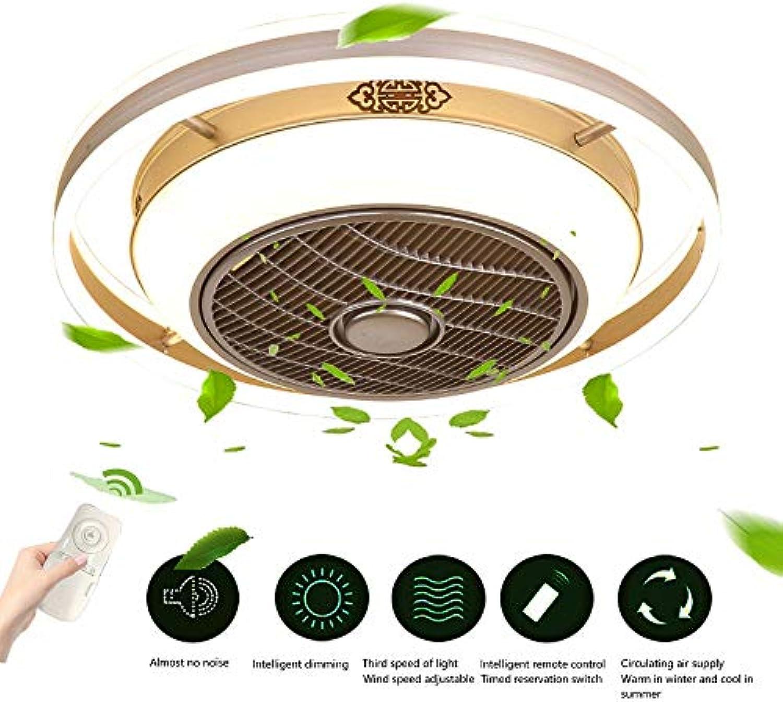 Wandun Fan Deckenleuchte Moderne LED Runde Deckenventilatoren Fernbedienung Deckenleuchte Dimmbar leise Deckenventilatoren mit Beleuchtung Deckenlampen Schlafzimmer Fan Leuchte [Energieklasse A++]