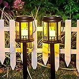 Lampada Solare Giardino Esterno 2pcs LED Luci Solari Giardino Lampade da Esterno per Prato LED Lampade Solari Terra IP44 Impermeabile Faretti Solari Luce Plastica Paesaggio Strade
