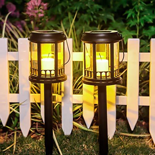 Luces Solares Jardín LED 2 Pack Jardín Lámpara de Camino de Paisaje Iluminación de Exterior Impermeable IP44 Luce de Solare el Plastico Para Patio Césped Pasillo Terraza
