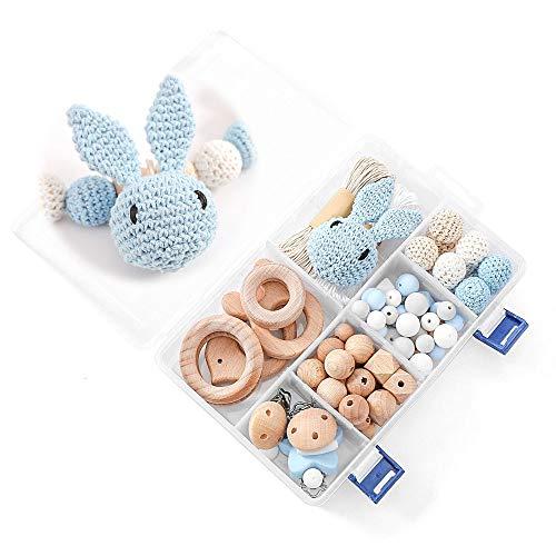 DIY Silikonperlen Schnullerkette,Baby Spielzeug Zahnen Silikon,Und Kaninchen,Perlen Beißring,Silikon-Perlen-Kit,Fünfzackige Stern-Clip,Holzperlen,Kinderkrankheiten Halskette Armband (Blau)