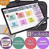 FACILOTAB Pack L Galaxy 10,1 Pouces WiFi - 32 Go - Android 9 + Support + Sacoche + 2 Stylets (Tablette simplifiée pour Seniors)
