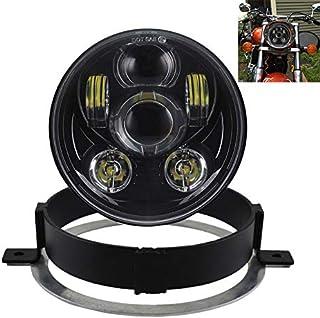 Domilay 6.5 inch LED Motorcycle Headlight HiLo head light lamp Bulb DRL for Sportster Cafe Racer Bobber