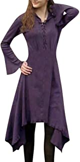 Vintage Gothic Style Dress Women's Fashion Long Sleeve Lace Up Solid Hem Straight Dress