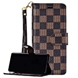 Galaxy Note 10/Note 10 5G Leather Flip Case,Luxury Plaid Pattern Wristlet Brown Grid Leather Wallet Case Cover Card Holder for Samsung Note 10/Note 10 5G.Brown