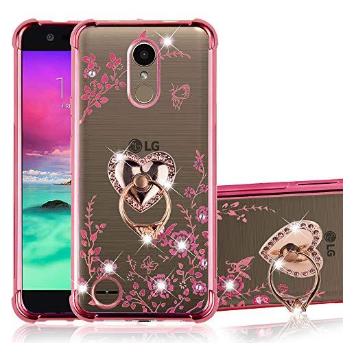 B-wishy LG K20 Plus case, LG K20 / LG K20 V/LG Harmony/LG K10 2017/LG LV5/ LG Grace Case, Glitter Crystal Butterfly Heart Floral TPU Shockproof Bling Girls Women Phone Case for LG K20 Plus Rose Glod
