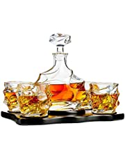 PrimeWorld European Crystal Clear 7 Pcs Decanter and Glasses Set- Stylish 1 Decanter and 6 Pcs Glass Set - Perfect for Whiskey, Scotch, Wine, Vodka, Tequila, Rum etc