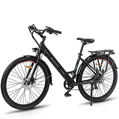 "Macwheel 26"" Electric Bike, 350W Brushless Hub Motor, Removable 36V/10Ah Lithium-ion Battery, Shimano 7-Speed, City Electric Bike Black"