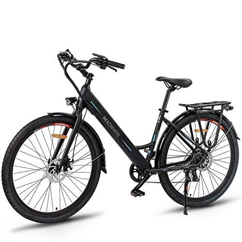 Macwheel 26'' Electric Bike, 350W Ebike, 15.5MPH Adults Ebike with Removable 36V/10Ah Lithium-ion Battery, Shimano 7-Speed, City Electric Bicycle Black