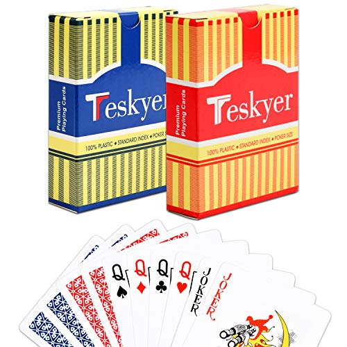 Teskyer Playing Cards, 100% Waterproof Plastic Playing Cards, Standard Face Deck of Cards, Poker Size, Blue and Red