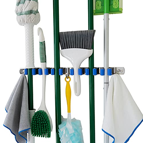Broom and Mop Holder Wall Mounted, 6 Grip Kitchen Organization and Storage, Broom Holder, Laundry Room Organizer Mop and Broom Holder Garage Organization Broom Holder Wall Mount Hooks N Holders