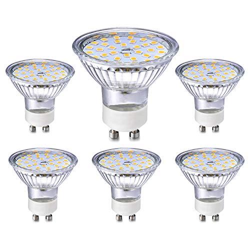 GU10 LED Ligero Bombillas 5W Equivalente a 40W 35W Halógeno Bulbos, Blanco cálido 3000K, GU10 Destacar LED 420LM, ángulo de haz 120 °, CA 230V, sin parpadeo, no regulable, paquete de 6