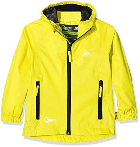 Trespass Qikpac Jacket, Yellow, 11/12, Kompakt Zusammenrollbare Wasserdichte Jacke für Kinder / Unisex / Mädchen und Jungen, 11-12 Jahre, Gelb