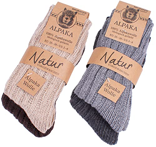 BRUBAKER Unisex Alpaca Wool Socks for the Cold Winter Days - Multicoloured - EU 43-46 / UK 9-12 - Pack of 4