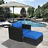 Outdoor Wicker Furniture Sofa Lounge Chair Ottoman Set Patio Sectional Sofa Set with Ottoman(Single Sofa+Ottoman Sofa)
