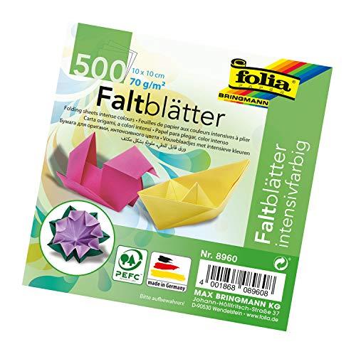 folia 8960 - Faltblätter 10 x 10 cm, 70 g/qm, 500 Blatt sortiert in 10 intensiven Farben - ideal zum Papierfalten und für andere kreative Bastelarbeiten