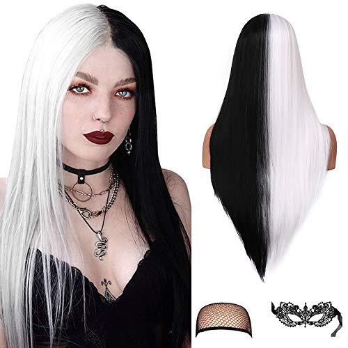 Medio negro blanco pelucas rectas 22 pulgadas peluca sedosa recta pelucas de pelo sintético para mujeres cosplay diario