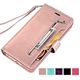 ZCDAYE Wallet Case for iPhone 5 5S SE (4.0 inch),Premium [Magnetic Closure][Zipper Pocket] Multi-Functional Handbag Stand Function Folio PU Leather Flip Cover Inner Soft TPU Case -Rose Gold