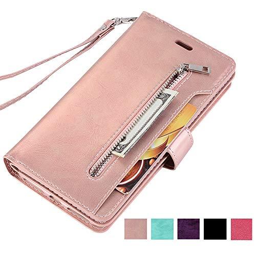 ZCDAYE Brieftasche Schutzhülle für iPhone 5 5S SE,Premium PU Leder Handytasche Stand Kartenfach Magnet Hülle Case Handyhülle Kompatibel mit iPhone 5 5S SE - Roségold