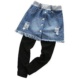 YRINA 女の子 デニム スカッツ レギンス スカート 綿 スパッツ 子供服 キッズ ガールズ ダメージデニム ジーンズ (100, 濃いブルー)