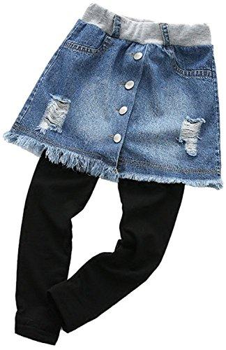 YRINA 女の子 デニム スカッツ レギンス スカート 綿 スパッツ 子供服 キッズ ガールズ ダメージデニム ジーンズ (110, 濃いブルー)