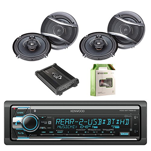 Kenwood Single Din CD/AM/FM Car Audio Receiver with Bluetooth with Pioneer 6.5 Inch 320-Watt 3-Way Car Coaxial Speakers 2-Pairs, Lanzar Heritage Mosfet Amplifier & Enrock Wiring Installation Kit