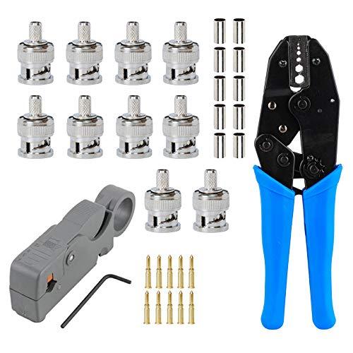 Eagles 1set Coax RF/BNC Crimp Tools for RG59 / RG6 with 10pcs BNC Plug Crimp Connector Set