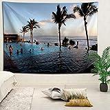 YOYNZY Tapestry Bali Hermoso Paisaje Tapiz Bohemia Playa Mar Tapiz Tapiz Decoración del Dormitorio Colgante De Pared J para Dormitorio Sala De Estar Decoración del Hogar-130X150Cm