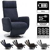 Cavadore TV-Sessel Cobra, Fernsehsessel mit 2 E-Motoren und Akku, Relaxfunktion, Liegefunktion, Ergonomie L, 71 x 112 x 82, Belastbar bis 130 kg, anthrazit