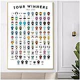 BINGJIACAI Bicicleta Tour De Francia ganador regalo póster lienzo pintura moderna pared arte imagen impresión sala de estar decoración del hogar-50x70cm sin marco
