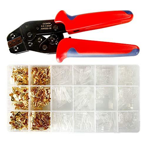 Wowlela Kit de herramientas de engarzado, alicates de engarce de pesca con 300 conectores de terminal y 300 manguitos aislantes transparentes