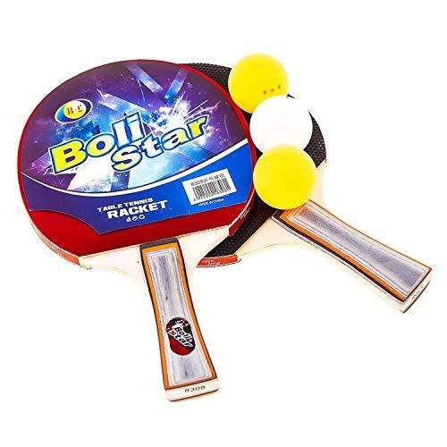 Juego de raqueta de ping pong profesional con 2 bates y 3 pelotas en bolsa de transporte, bates de tenis de mesa y pelotas con funda, ideal para niños y adultos