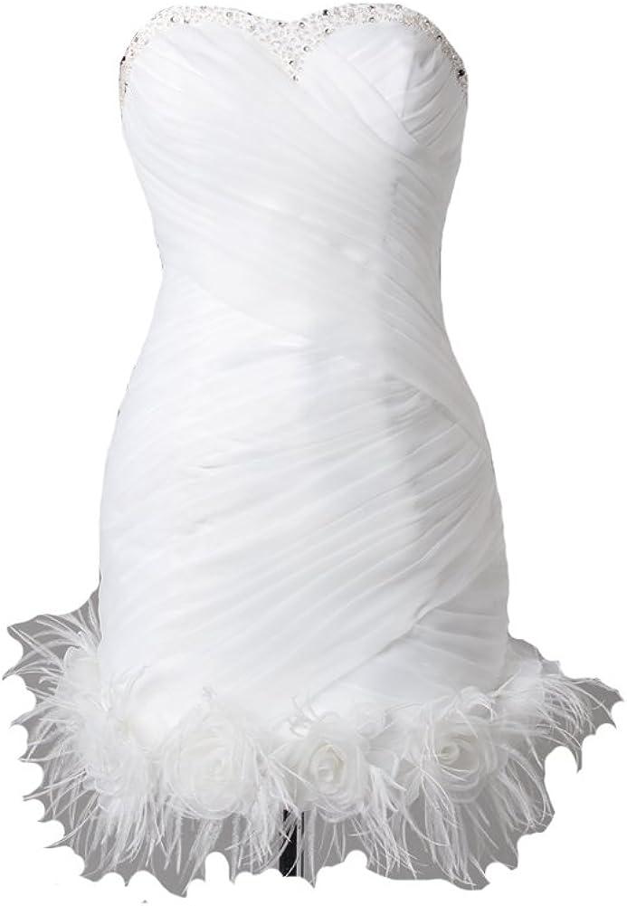 Kivary Women's Short Little White Beaded Feathers Informal Wedding Prom Cocktail Dresses