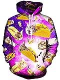 Rave on Friday 3D Katze Hoodie Pizza Drucken Galaxy Cat Kapuzenpullover für Damen Mode Lustige Pullover Langarm Sweatshirt S-M